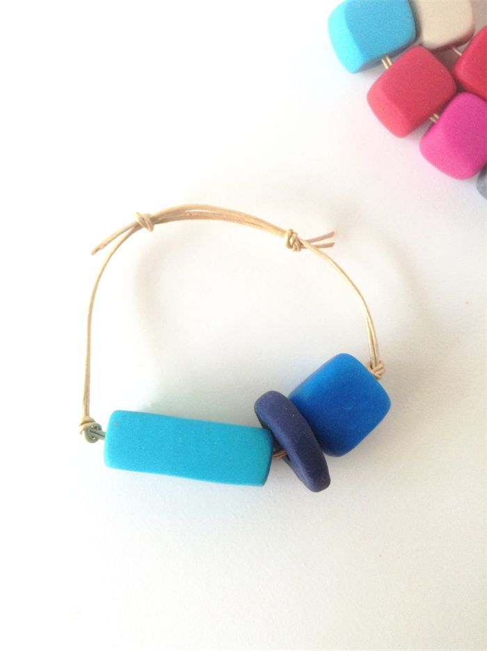 BRACELET navy, electric blue and turquoise clay on adjustable gold leather cord. | Banjo & The Sparrow | madeit.com.au