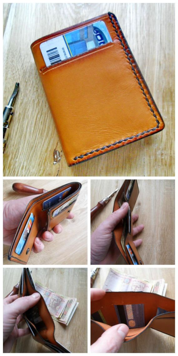 Trifold leather wallet Men's trifold card holder 3rd