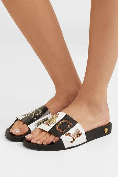 3372f67a822f Versace Printed Rubber And Leather Slides - Black in 2019