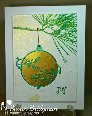 handmade Christmas card ... gold and turquoise green ... bauble done with the inlaid die cut technique ... like it!