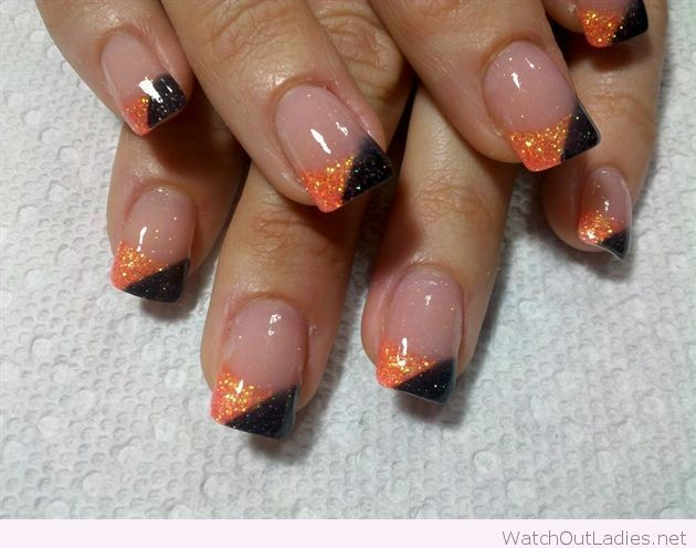 Orange and black glitter manicure for Halloween