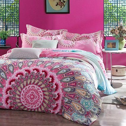 FADFAY Home Textile Boho Bedding Set Bohemian Bedding Bohemian Style Bedding Set Bohemian Duvet Covers Peacock Bedding Set Unique Designer Bedding Sets Ropa De Cama Paisley Bedding Colorful Duvet Cover Bedding Set Full/Queen,4Pcs