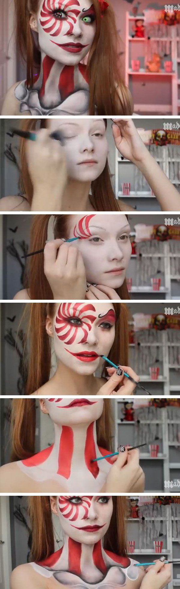 Candy cane slash skeleton girl Halloween makeup. Looking crazy is in when it comes to Halloween, but you should not only try look crazy, but look good while being crazy just like in the image.