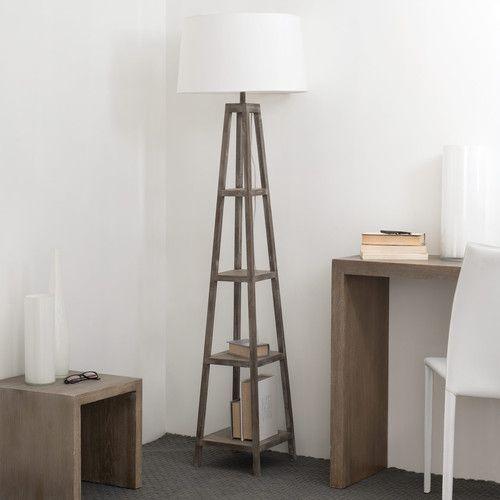 Houten en katoenen WALLAS staande lamp H 170 cm