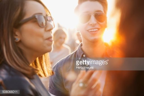 Stock Photo : Friends talking outdoors