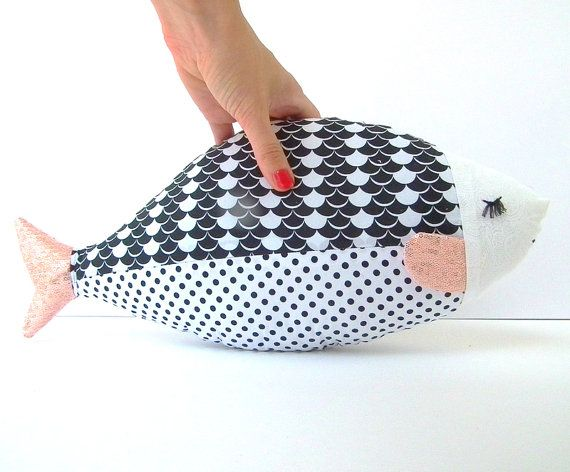 Fish pillow, fish toy, stuffed fish. Black n white toy. Nursery decor, Cute child friendly gift Cotton cloth. Baby shower - any gender