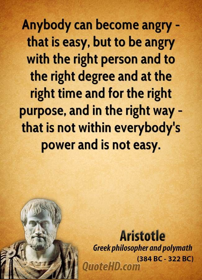 Aristotle on anger vs. righteous anger