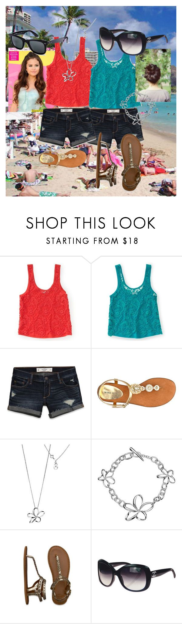 """Hawaii"" by deeda-ferreira ❤ liked on Polyvore featuring Aéropostale, Abercrombie & Fitch, Nine West, Hot Diamonds, Ray-Ban and Chanel"