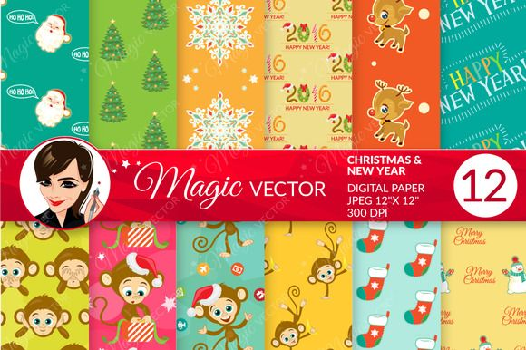 Christmas & New Year digital paper by Magicvector on Creative Market