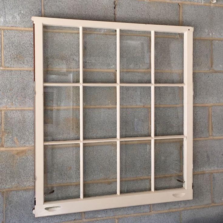 Vintage 12 pane window frame 36 x 40l white rustic for 12 pane door