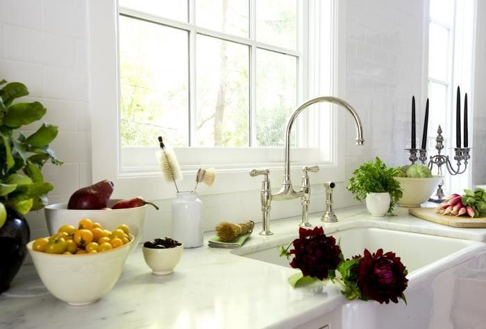 Rohl U.4719L-EB-2 English Bronze Perrin and Rowe Bridge Kitchen Faucet with Side Spray: Remodelista