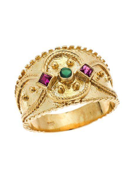 Δαχτυλίδι Βυζαντινό Χρυσό 9Κ σε Κίτρινο Χρώμα Αναφορά 020311 Δαχτυλίδι βυζαντινό από Χρυσό 9Κ σε κίτρινο χρώμα στολισμένο με συνθετικές πέτρες σε πράσινο και κόκκινο χρώμα.