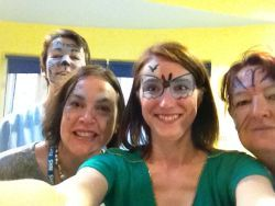 Ability IT Business Development Manager Vicky O'Grady teaches staff and fundraisers at ST Andrews Hospice how to facepaint