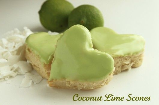 Coconut Lime Heart sconesDesserts, Coconutlim Scones, Limes Scones, Coconut Limes, Teas, Food, Scones Recipe, Baking, Cookies Jars