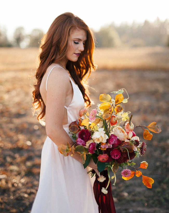 Audrey Jeremy Roloff Anniversary   Green Wedding Shows Blog   Bridal shoot blush dress fall wedding