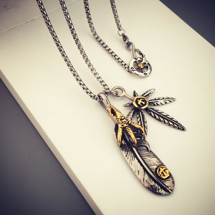 Weed Feather Eagle Claw Titanium Steel Charm Necklace //Price: $45.85 & FREE Shipping //     #weed