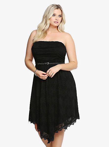 Plus Size Dress Plus Size Strapless Lace Handkerchief