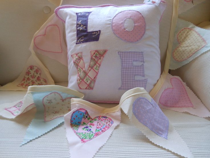 Bunting can be made to match a cushion and other decor in a bedroom