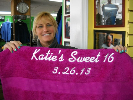These towels were done as party favors for Katie's sweet 16.