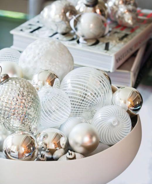 White Christmas: Christmasdecor, Idea, Glasses Ornaments, White Christmas, Winter Centerpieces, Holidays, Christmas Decor, Christmas Ornaments, Bowls