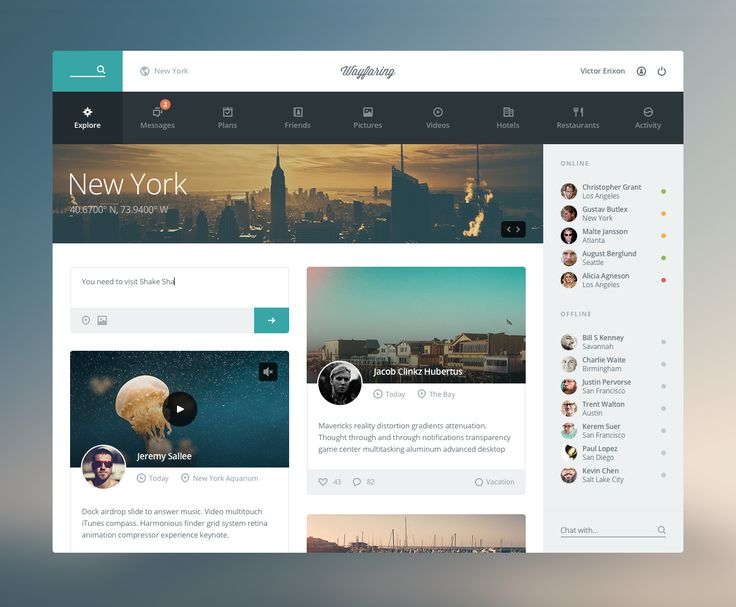 Wayfaring - web app interface UI UX