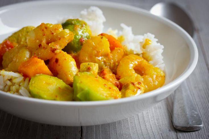 Jemné krevetové curry sdýní akapustičkami
