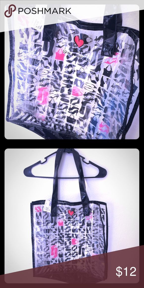 """Clear Plastic Shoulder Bag w/ Shoe Pattern (DSW) NWT. Measures 15.5"""" x 16"""" & strap extends 10.5"""" from bag. Cute shoe pattern w/ a few purses & Designer Shoe Warehouse logo w/ heart, clear plastic. Great for a job that requires employees to have clear purses or for packing up beach/pool supplies like sunscreen, shades, and a towel! 🕶☀️🏄🏽♀️ Designer Shoe Warehouse Bags Shoulder Bags"""