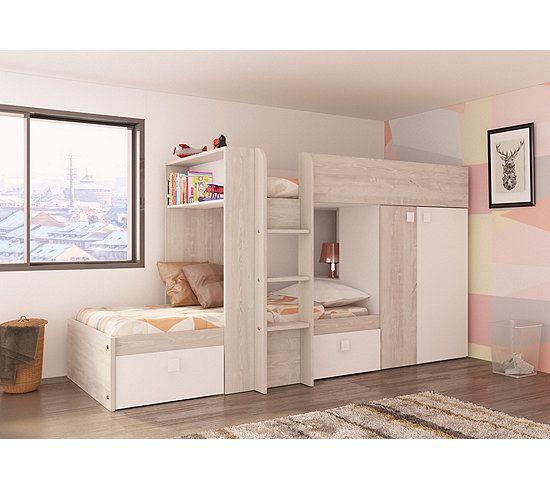 Lit superposé 2x90x190 cm MELYMELO Chêne/blanc - Lit superposé - Mezzanine BUT | Lit superposé ...