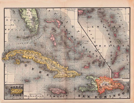 map of Cuba, Jamaica, and Haiti from 1891, vintage printable ...