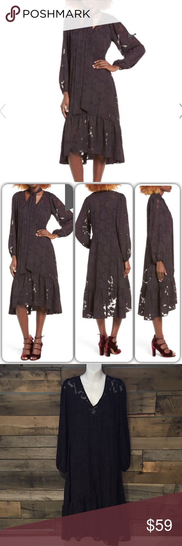 """🆕 Sun & Shadows Tie Neck Fil Coupe dress. Small NWT Sun & Shadows Tie Neck Fil Coupe black dress. Small. 44"""" long. Does have neck tie (not photographed😖)  Polyester. Sun & Shadow  Dresses"""