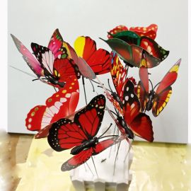 10 pcs Colourful Garden Plastic Butterflies On Sticks