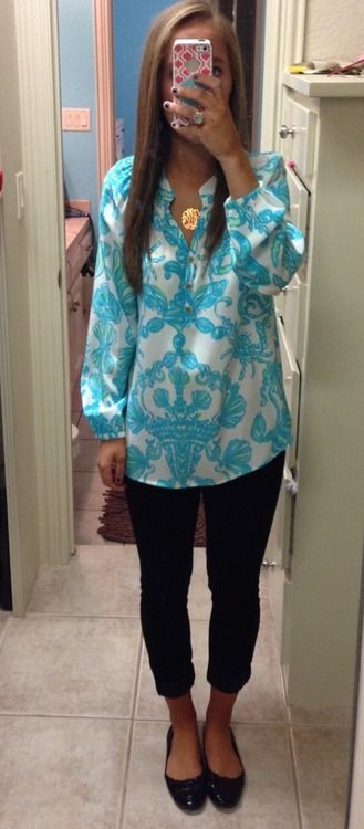 Aqua and blue watered silk tunic with leggings. Cute casual outfit.