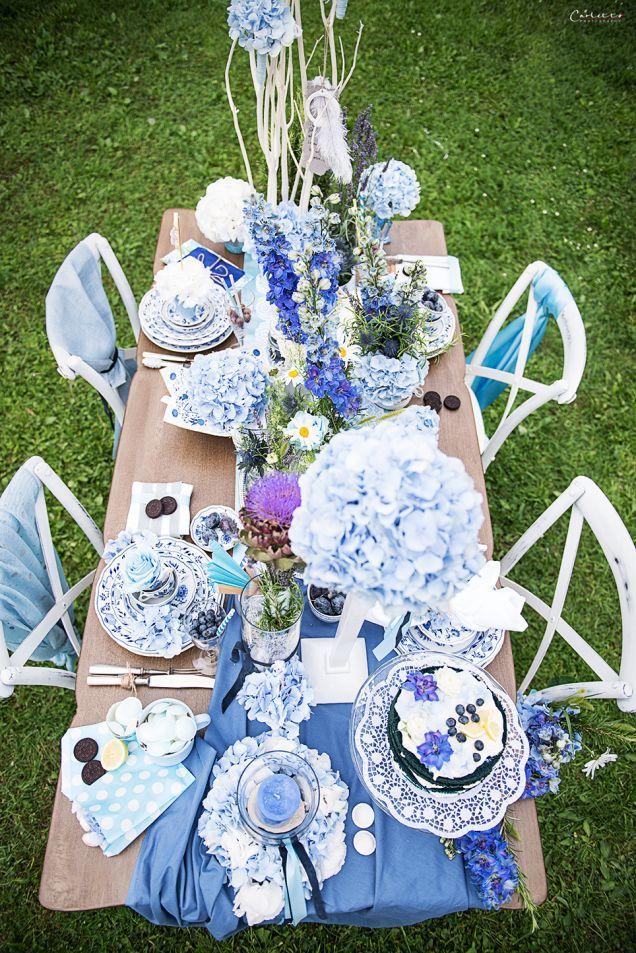 Tischdeko In Der Farbe Blau Deko Diy Mottoparty Co