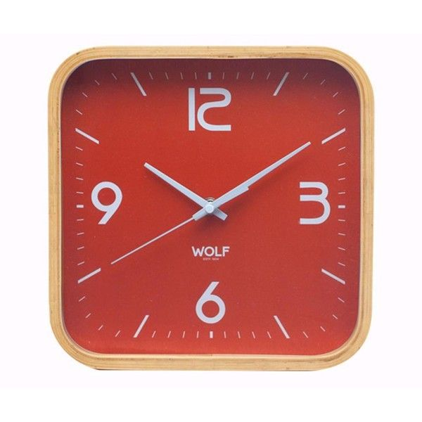 Dot & Bo Alistair Wall Clock - Orange ($55) ❤ liked on Polyvore featuring home, home decor, clocks, wooden wall clock, wood clock, orange wall clock, wood home decor and orange home decor