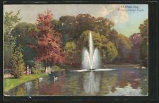 schöne Künstler-AK Robert Kämmerer: Hamburg, Elmsbütteler Park mit Fontäne 1903