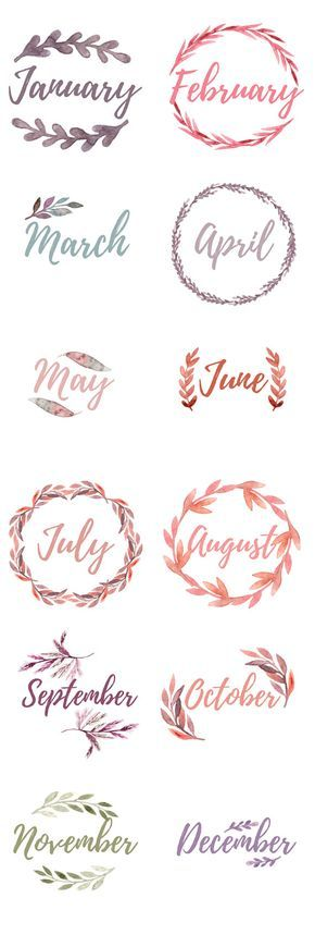 Printable Bullet Journal Monthly Cover Pages. Water color floral wreaths with the months, blank wreaths for DIY lettering