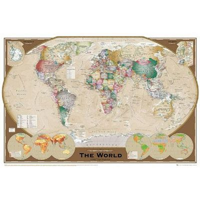 114 best world map images on pinterest antique maps etchings and maps executive style world map winkel tripel projection art poster print gumiabroncs Images