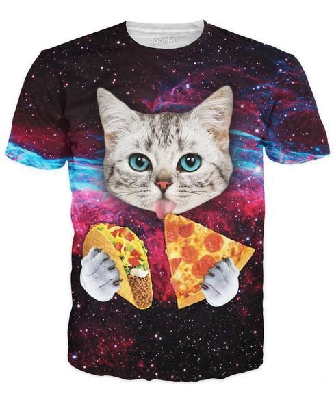 his fully sublimated shirt design features a cute cat with blue eyes eating tacos and pizza in space! Get this vibrant high-quality kitten tee for your closet now.