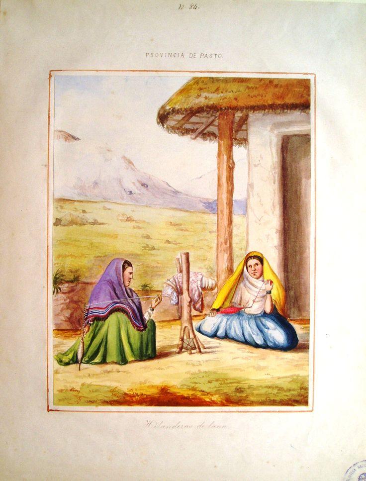 """""""Hilanderas de lana. Provincia de Pasto"""". Manuel María Paz, 1853. BNC, 5034."""