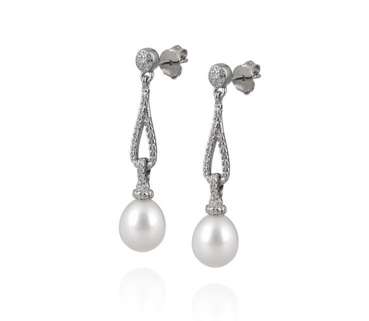 Stříbrné visací náušnice s perlou a zirkony