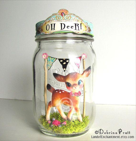OH Deer in Mason Jar original art vintage paper collage handmade banner bunting Whimsical Style altered art