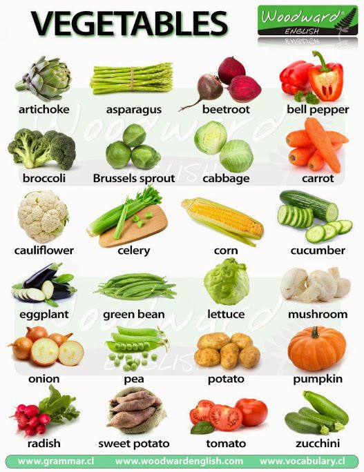 """NEW CHART: Vegetables in English  Did you know that at least 6 of these """"vegetables"""" are in fact fruit? Find out which ones on our new page about Vegetables in English:  http://www.vocabulary.cl/english/vegetables.htm  Which vegetables do you like? Which ones DON'T you like?"""
