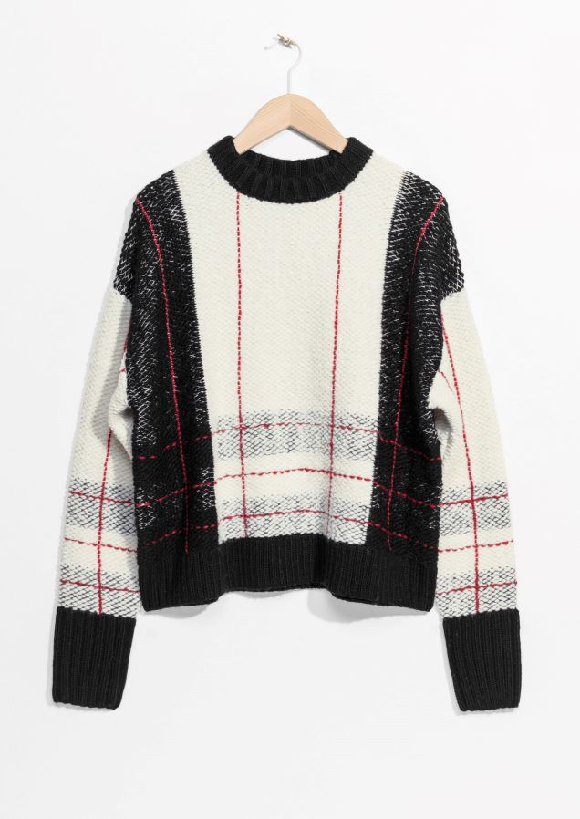 & Other Stories image 1 of Check Sweater in White / Black