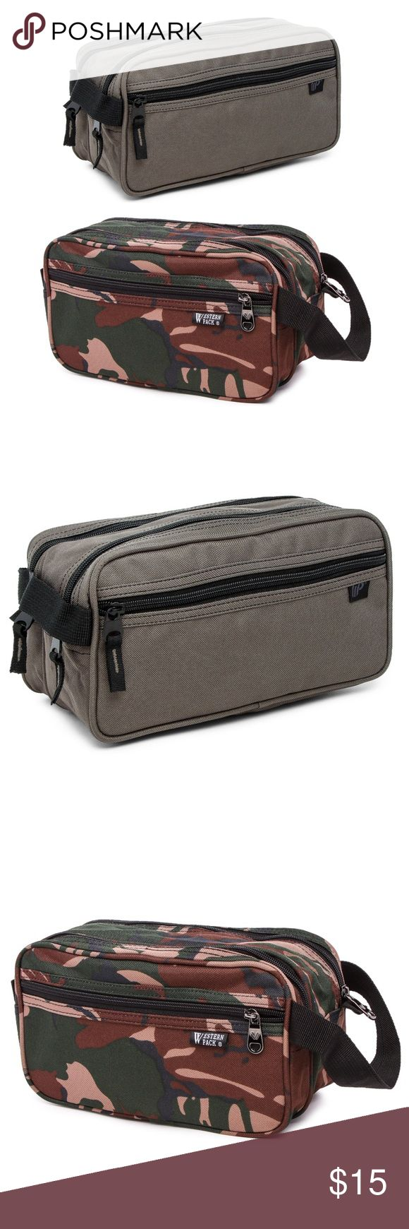 """Men's Toiletry Bag Men's Toiletry Bag by Western Pack  Color: Olive or Camo  Measures: 4""""L x 11""""W x 5.5""""H  Features: Two main zip closures Two side zip pouches Water Resistant Handle for easy carrying Lots of space Imported Bags Luggage & Travel Bags"""