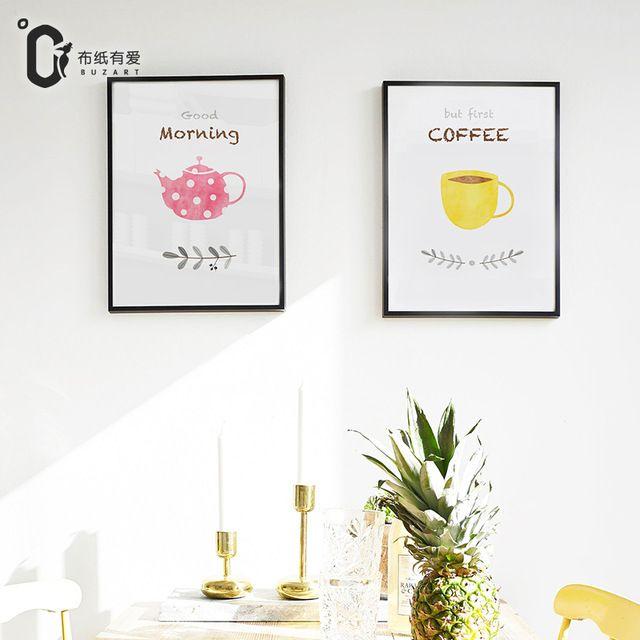 Утренний чай 2 Шт. Акварель Печать Стены картины холст ткани, домашний декор для кухни БЕЗ Рамки