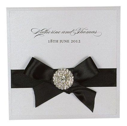 Square Folding Invitation With Ribbon, Bow And Diamante Cluster - www.kardella.com