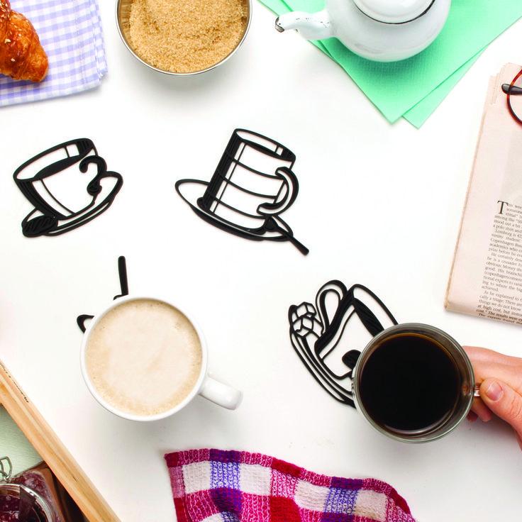 Sketch Coasters - Peleg Design  Leuke set van 4 onderzetters!