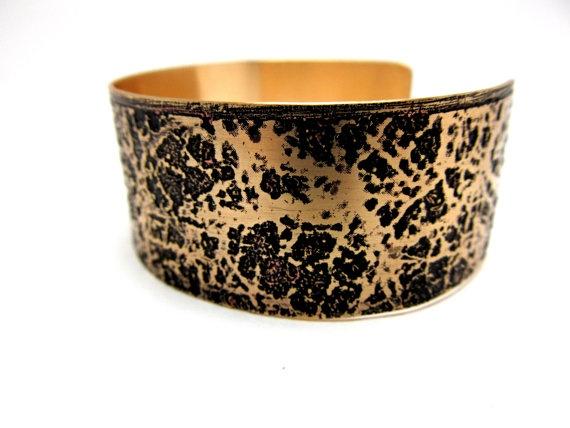 Handmade Bracelet Etched Brass Metal Cuff by LittleHillJewelry, $35.00