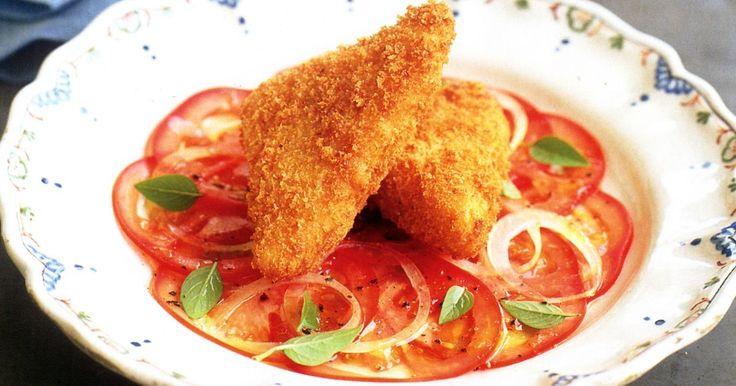Crunchy deep-fried cheese is irresistible in this gourmet vegetarian starter.