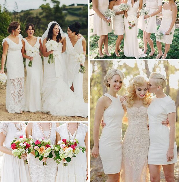 2015 Wedding Trends | White Bridesmaids Dresses | www.onefabday.com